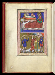 Nativity and Annunciation to the Shepherds, in a Psalter